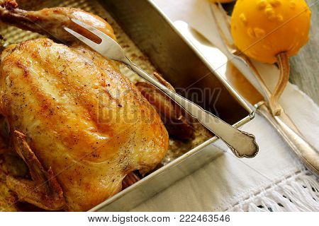 Delicious baked chicken with pumpkin. Rustic style, selective focus.