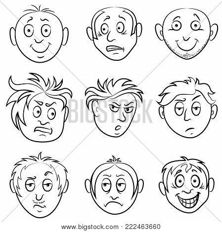 Set of nine amusing male grimaces, sketching cartoon vector outlines isolated on the white background