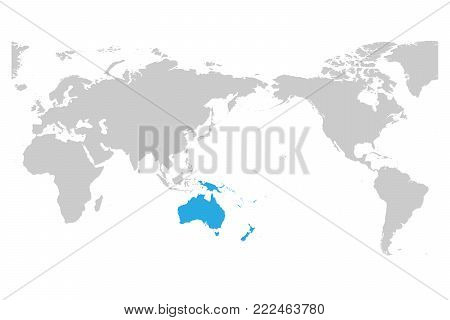 Austtralia and Oceania continent blue marked in grey silhouette of World map. Simple flat vector illustration.
