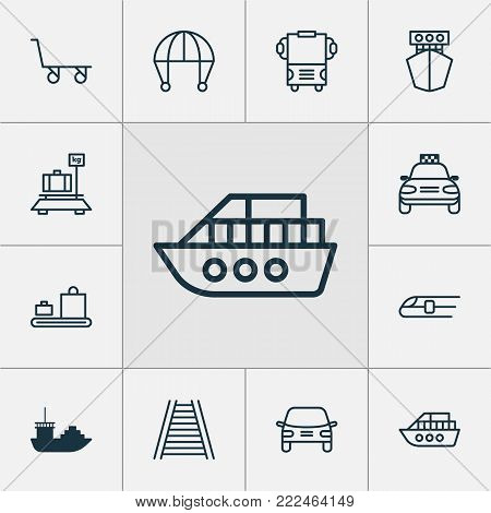 Transport icons set with cargo cart, ship, tanker and other baggage carousel elements. Isolated  illustration transport icons.
