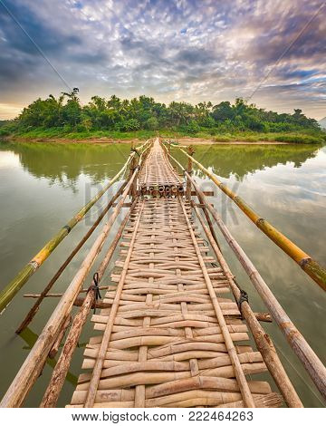 Beautiful view of a bamboo bridge. Luang Prabang. Laos landscape.
