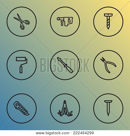 Repair icons line style set with multifunctional pocket, round pliers, bolt and other turn-screw elements. Isolated  illustration repair icons.