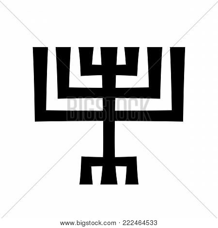 Menorah (ancient Hebrew seven-candleholder), sacred candelabrum with seven lamps, used in The Temple in Jerusalem. Traditional Religious Symbol of Judaism since ancient times.