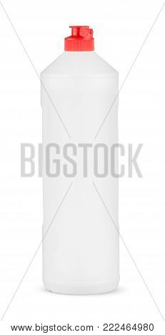 White plastic bottle of cleaning product. Isolated on white background with clipping path. Bottle for shampoo, shower gel, lotion, body milk, bath foam, detergent. Package. Mockup.