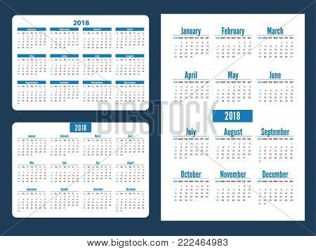 Set simple pocket calendar years. Week starts from sunday. Horizontal and vertical blue pocket calendar on white background. Stationery Design Template