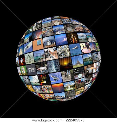 Big Multimedia Video Wall Sphere at tv screens showing living in the world