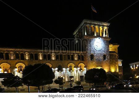 The Republic Square in Yerevan. Headquarters of the Government of Armenia (the council of government ministers). It was originally housed by the People's Commissariat of Armenia.