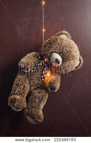 Teddy bear was hung up on a garland, the concept of suicide among children, depression,