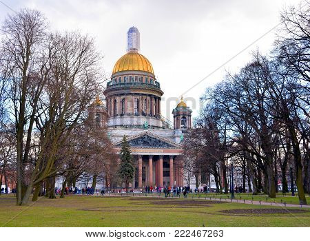 St. Isaac Cathedral and Alexander Garden in Saint Petersburg, Russia.