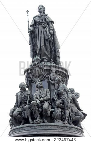Monument to Catherine II - a monument on Ostrovsky Square in St. Petersburg, established in honor of Empress Catherine II in 1873, Russia.