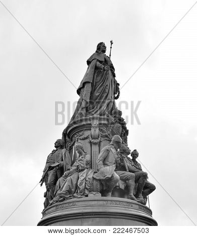 Monument to Catherine II - a monument on Ostrovsky Square in St. Petersburg, established in honor of Empress Catherine II in 1873, Russia. Black and white.