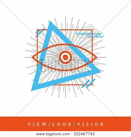 All-seeing Eye, View - Look - Vision Flat Style and Thin Line Icon, Vector Illustration. Modern Art Design Elements.