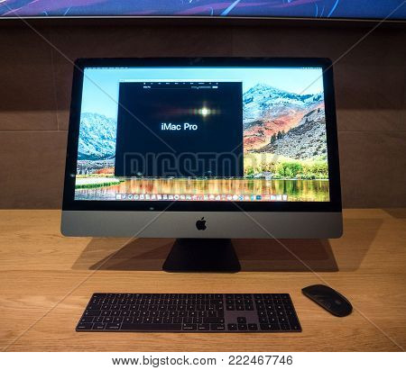 STRASBOURG, FRANCE - JAN 11, 2018: new iMac Pro the all-in-one personal computer in Apple Computers Store. Apple claims the iMac Pro is the most powerful Mac ever made -