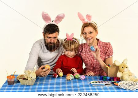 Family Playing With Toy Blocks On White Background