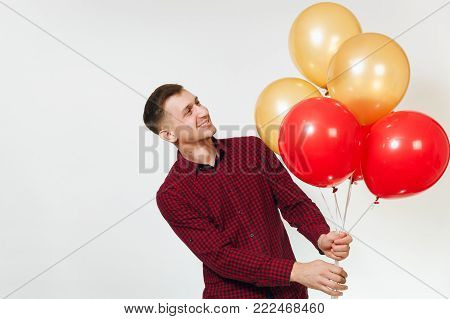 Handsome Caucasian Smiling Fun Young Happy Man 25-30 Years In Red Plaid Shirt With Yellow Golden Bal