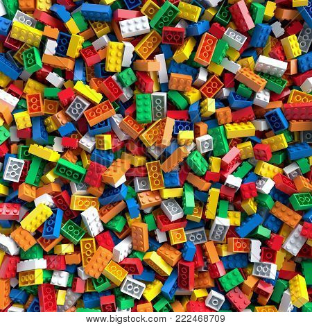 Pile of colored toy bricks background. 3D Rendering