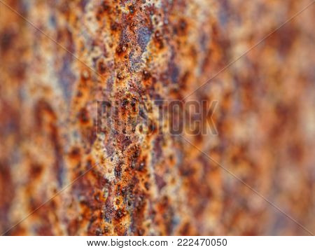 old rusty metal plate, macro with very low depth of field