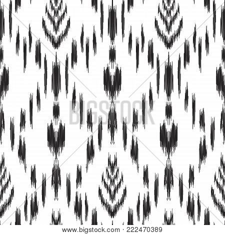Ikat seamless pattern. Vector background. Black and white design for fashion textile prints, wallpapers, cards or wrapping papers.