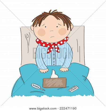 Sick boy with flu sitting in the bed with medicine, thermometer and paper handkerchiefs on the blanket - original hand drawn illustration