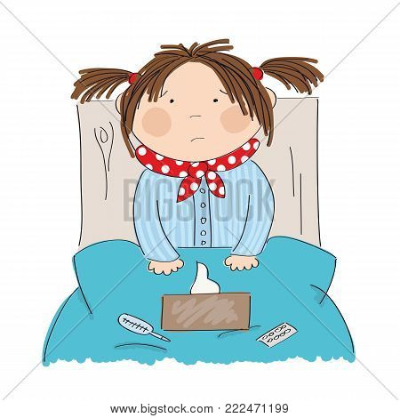 Sick girl with flu sitting in the bed with medicine, thermometer and paper handkerchiefs on the blanket - original hand drawn illustration