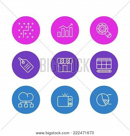 Vector illustration of 9 advertising icons line style. Editable set of tactical plan, analysis, circle diagram and other elements.