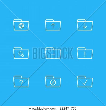 Vector illustration of 9 folder icons line style. Editable set of important, dossier, question and other elements.