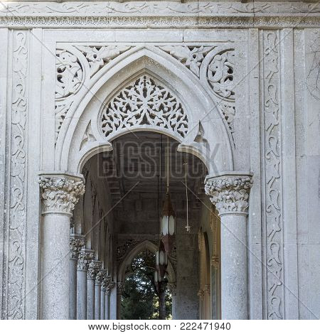 MONSERRATE, PORTUGAL - October 3, 2017: Corinthian columns and arches at the veranda of the Monserrate Palace in Sintra, Portugal