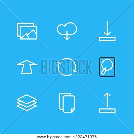 Vector illustration of 9 storage icons line style. Editable set of documents, hdd, synchronize and other elements.