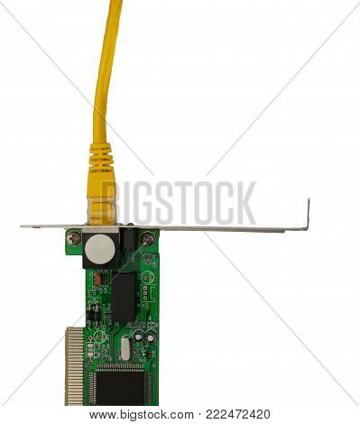 Ethernet network card  with yellow patch cords top view. There are place for text in the right.