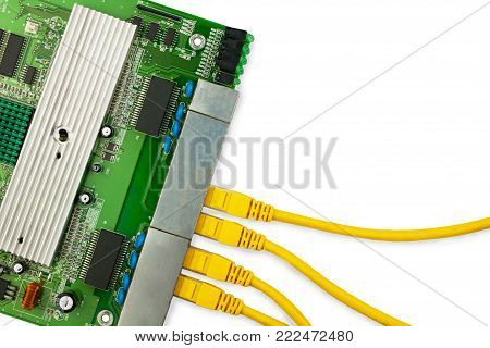 Ethernet switch board with yellow patch cords top view.There are place for text in the right.