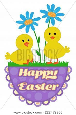 Cute Easter greeting design of chicks and flowers on top of a Happy Easter sign. Eps10