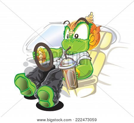 Racing driving and absorption soft drink Thai giant vector demon shot cartoon cute acting character design has clipping paths.