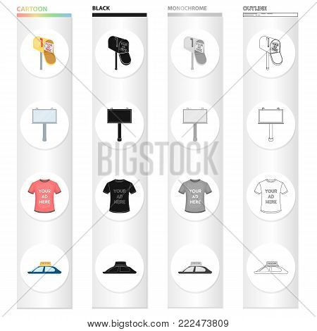 Mail box with advertising, a banner on the road, an inscription on a T-shirt, a sign on the roof of the car.Your advertisement here set collection icons in cartoon black monochrome outline style vector symbol stock illustration .