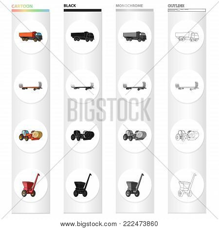 Truck, trailer for hay, tractor with a roll of hay, mobile chopper. Different types of agricultural machinery set collection icons in cartoon black monochrome outline style vector symbol stock isometric illustration .