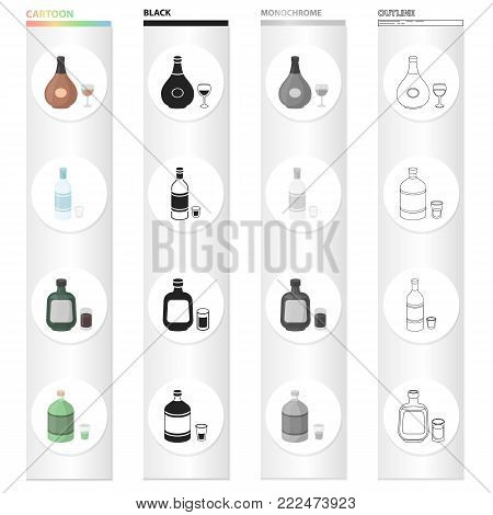 Chocolate liqueur, absinthe, alcohol, vodka, herbaceous liquor. Alcohol set collection icons in cartoon black monochrome outline style vector symbol stock illustration . poster