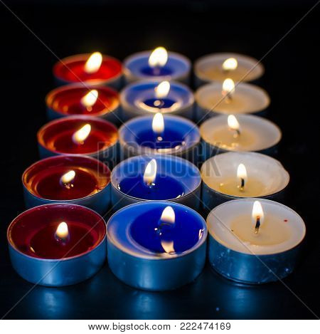 Tricolor valentine burning candles full of love