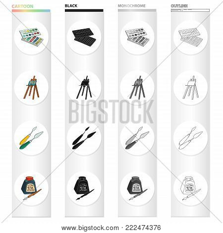 Watercolor paints, an easel artist, a spatula for drawing, a pen and an inkwell. Artist and drawing set collection icons in cartoon black monochrome outline style vector symbol stock illustration .