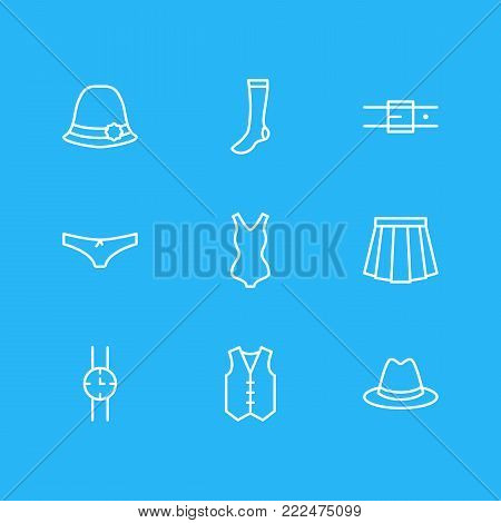 illustration of 9 clothes icons line style. Editable set of hand clock, hosiery, waistcoat elements.