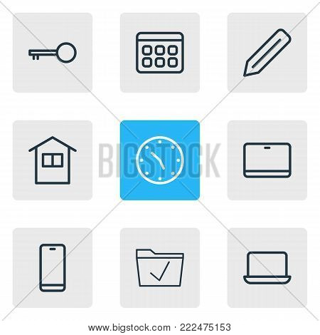 illustration of 9 office icons line style. Editable set of cellphone, palmtop, approve and other elements.