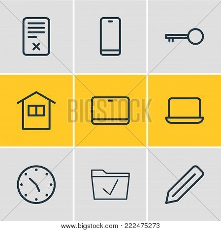 illustration of 9 office icons line style. Editable set of edit, monitor, home and other elements.
