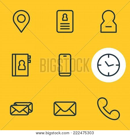 illustration of 9 community icons line style. Editable set of delete account, resume, epistle and other elements.
