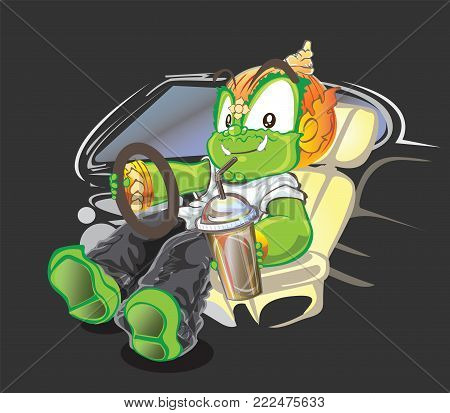 Thai giant driver and smiling acting vector cartoon cute character design isolate has clipping paths.