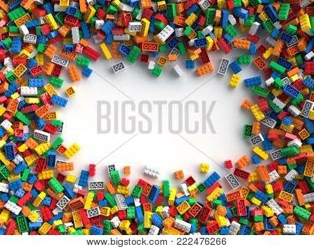 Colored toy bricks with place for your content. 3D Rendering