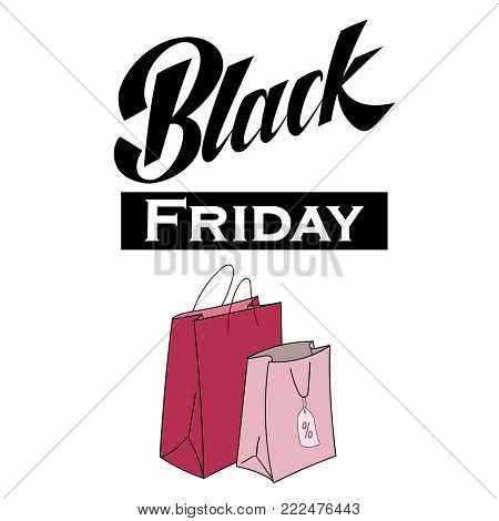 Black Friday Sale handmade lettering for shop logotype design, advertising, discount labels, prints, banners, posters, web. Marketing price tag. Shopping bags design. EPS 10 vector illustration.