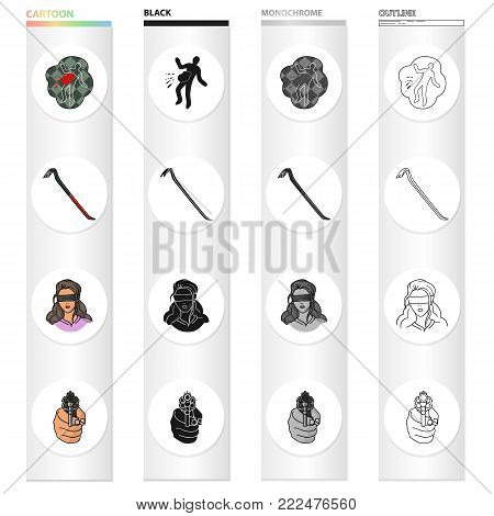 Crime scene, scrap, picklock, girl hostage, directed gun in hand. Crime set collection icons in cartoon black monochrome outline style vector symbol stock illustration .
