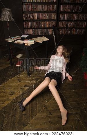Crime Scene (imitation). Strangled Young Student  In The Classical Library
