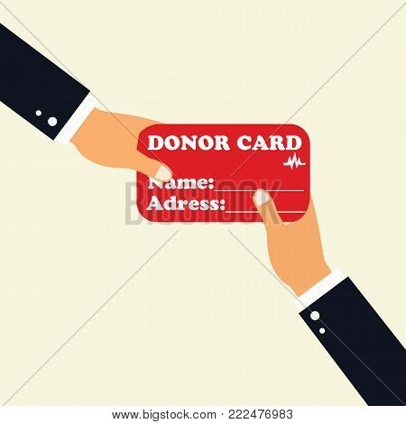Concept of Donate Organ.Hand holding Donor Card.