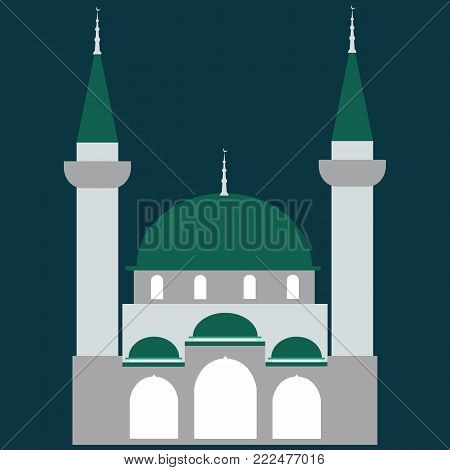 Mosque Icon.Mosque Vector on a green background