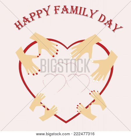 Illustration of International day of Families. Happy family, mom dad and their children, boy and girl
