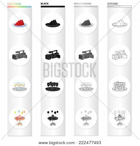 A plate with napkins, a video camera, a tray with glasses of wine, a cake on the table with a decoration.Event Service set collection icons in cartoon black monochrome outline style vector symbol stock illustration .